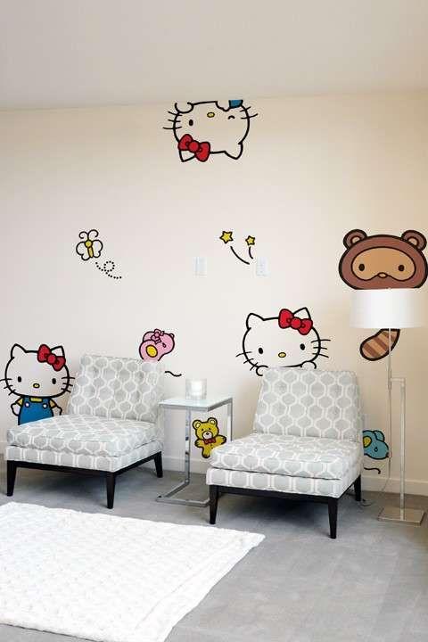 Vinilos Hello Kitty Pared.Famous Feline Furnishing Stickers Hello Kitty Pegatinas