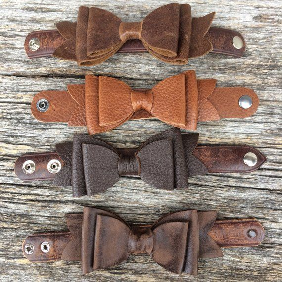 Photo of Leather Cuff Bracelet – Leather Bow – Chestnut Brown – Rustic – Pretty – Gift for Her – Medium- Leather Jewelry – by Stacy Leigh