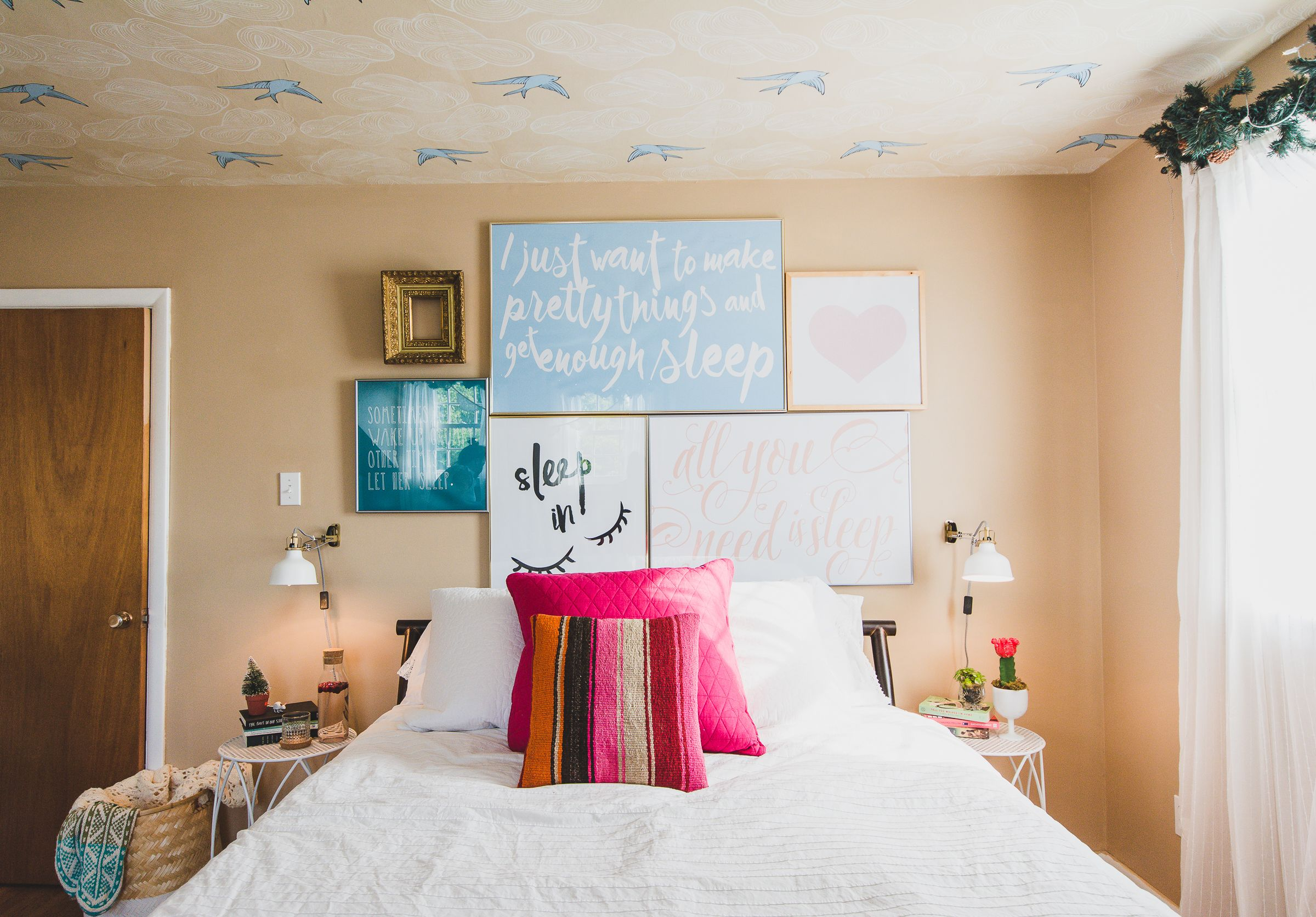 Guest Room Makeover // AFTER // cheerfullymade.com // #myleons // wallpaper ceiling