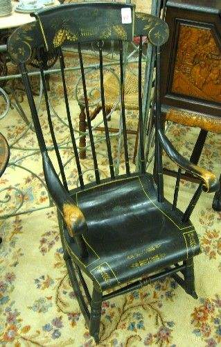 Antique Boston Rocker American 19th Century A Boston Rocker Of Maple And Pine Painted Black And Deco Antiques Rocking Chair