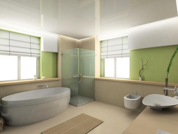 aménagement déco salle de bain vert et marron | Salle de Bains ...
