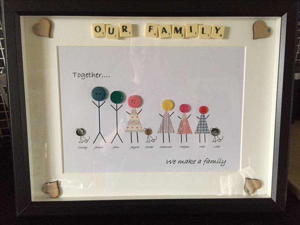 Large personalised Button Family Frames, gift, Grandchildren ...