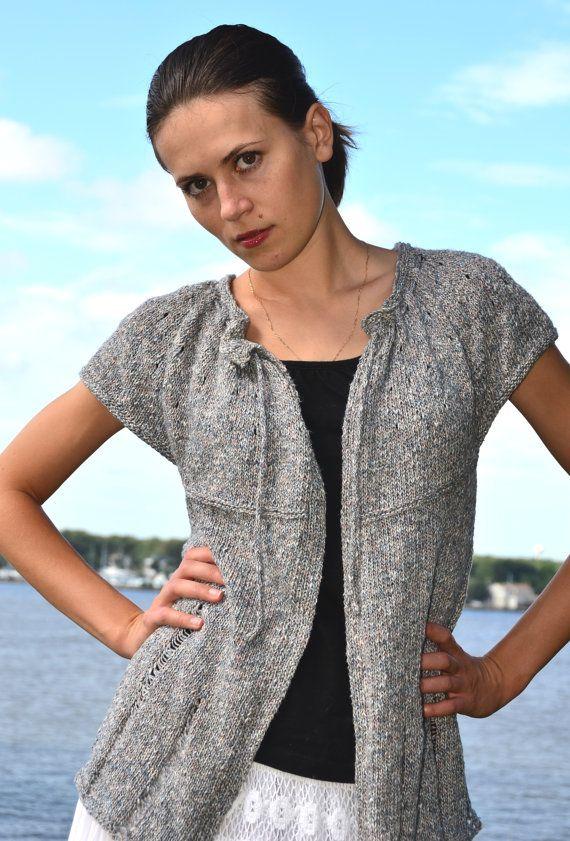 Drop Stitch Cardigan Pdf Knitting Pattern For Top Down Seamless