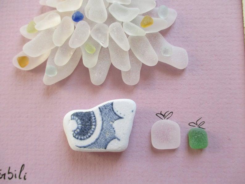 Sapin De Noel Miniature Sapin de Noël miniature, Arbre de Noël en verre de mer, Art du