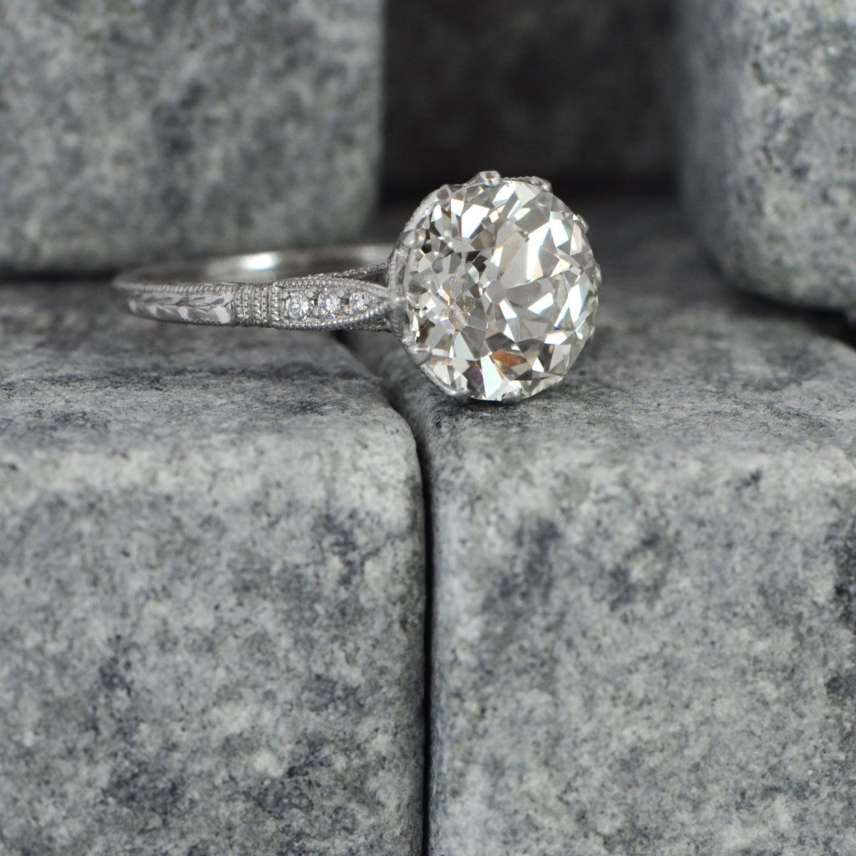 1.81ct Vintage Style Engagement Ring Antique Diamond and