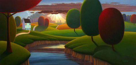Paul Corfield, 1970 | Naïf Style Landscape painter