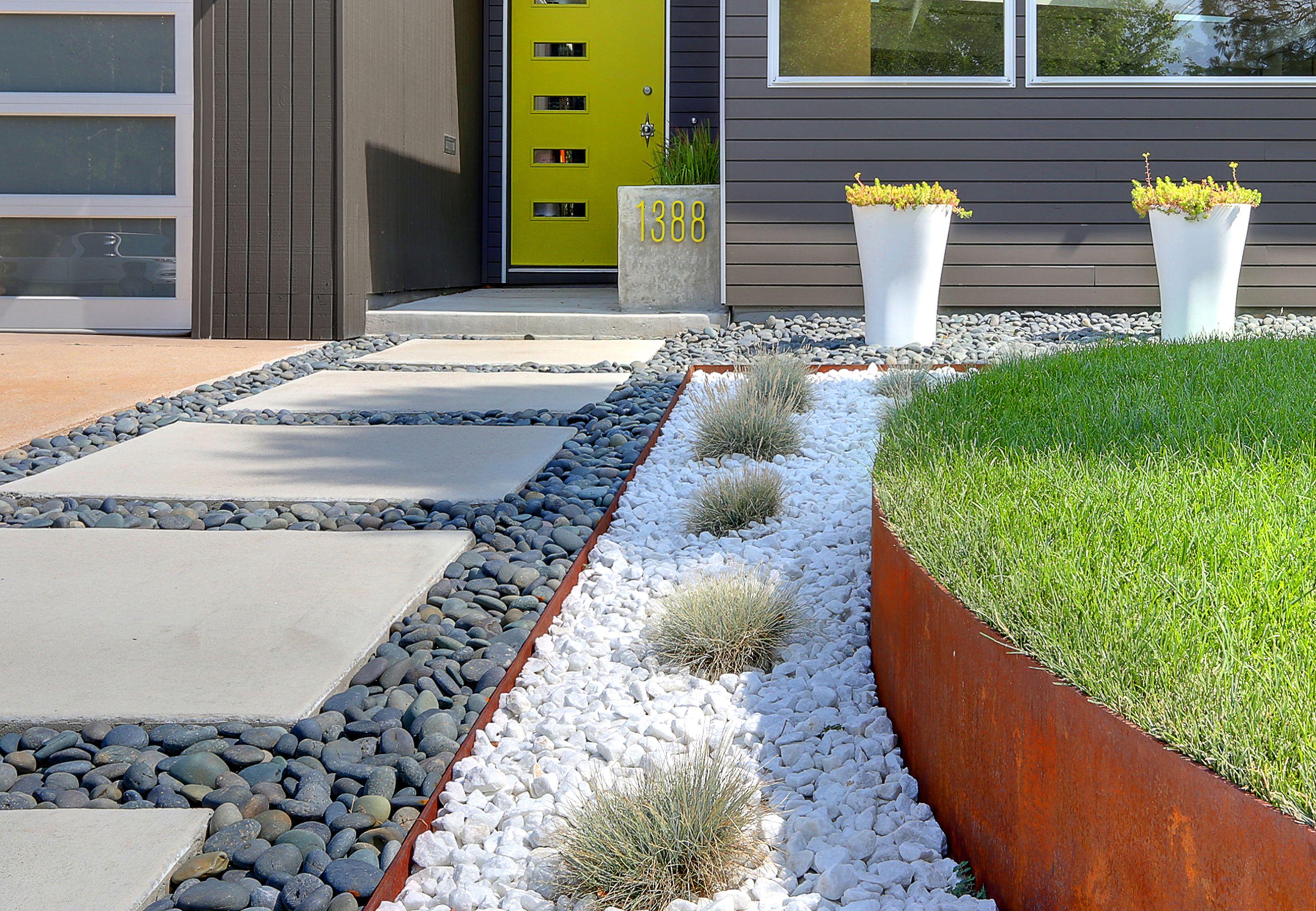 A Low Maintenance Landscape For A Midcentury Denver Home Front Yard Landscaping Design Modern Landscaping Walkway Landscaping