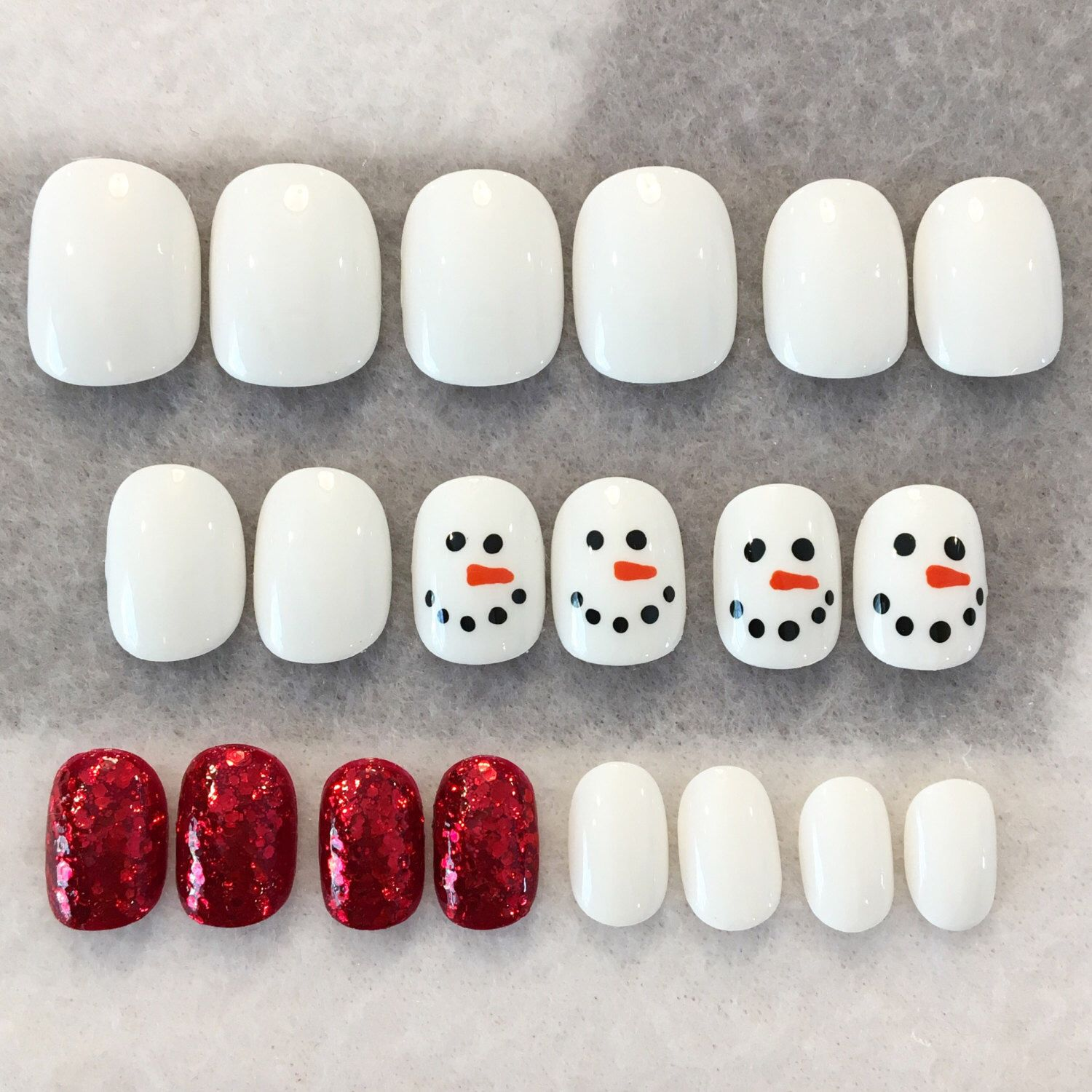 Snowman Fake Nails * Faux Nails * Glue On Nails * White Nails * Red ...