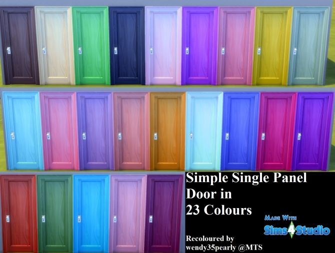 Simple Single-Panel Door-23 Colours by wendy35pearly at Mod The Sims • Sims 4 Updates