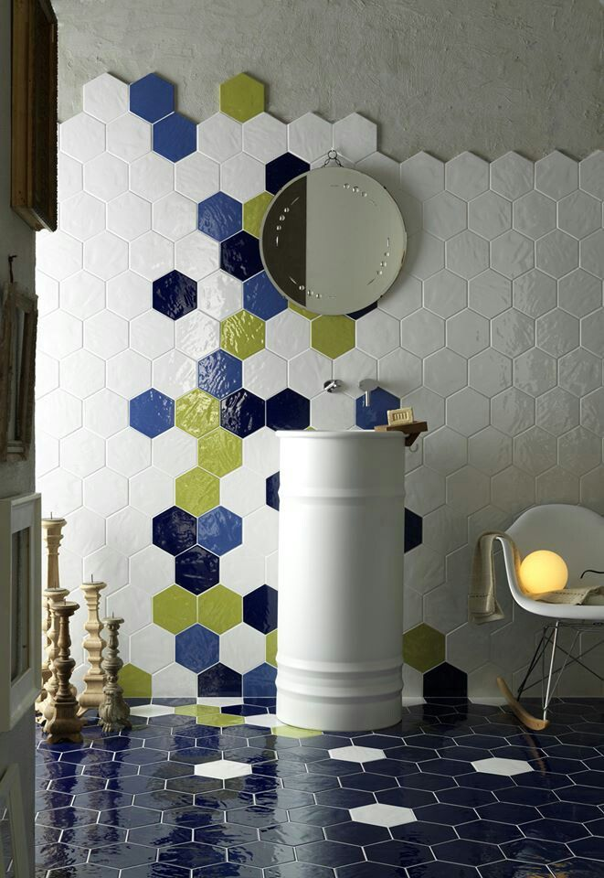 Interesting tile pattern--downstairs bath but in b/w and gold ...