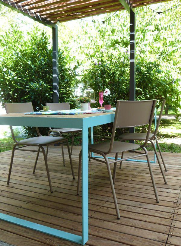 Table de jardin métal et bois. | Projects | Pinterest | Table jardin ...