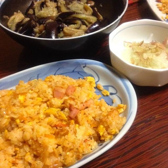 簡単夕ご飯、ナムルはコウケンテツさんのレシピでした - 11件のもぐもぐ - キムチチャーハンとなすのナムル by tsuka14