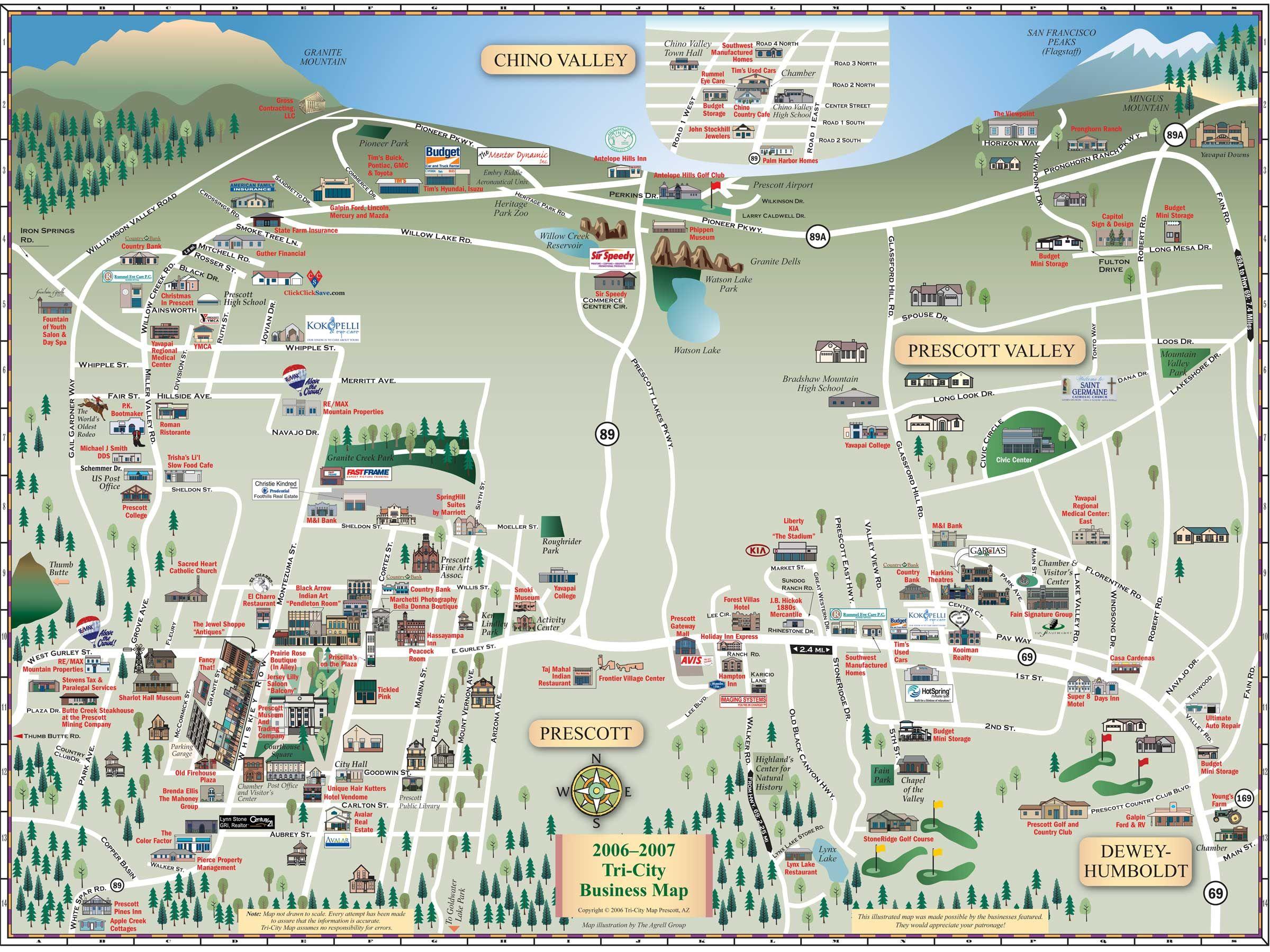 Prescott tourist map prescott arizona mappery for The prescott
