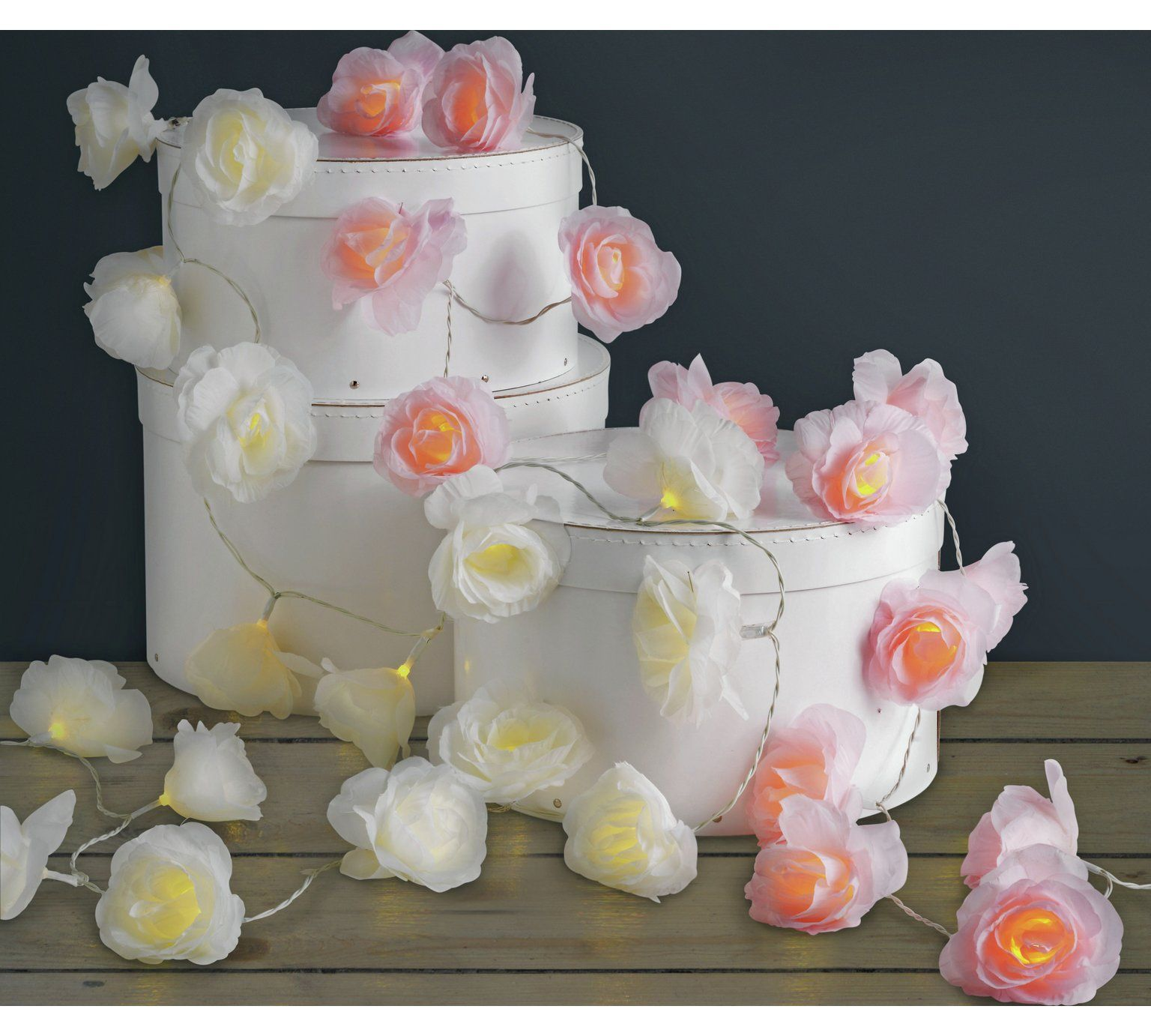 Buy Home Set Of 20 Rose Led String Lights Cream At Argos