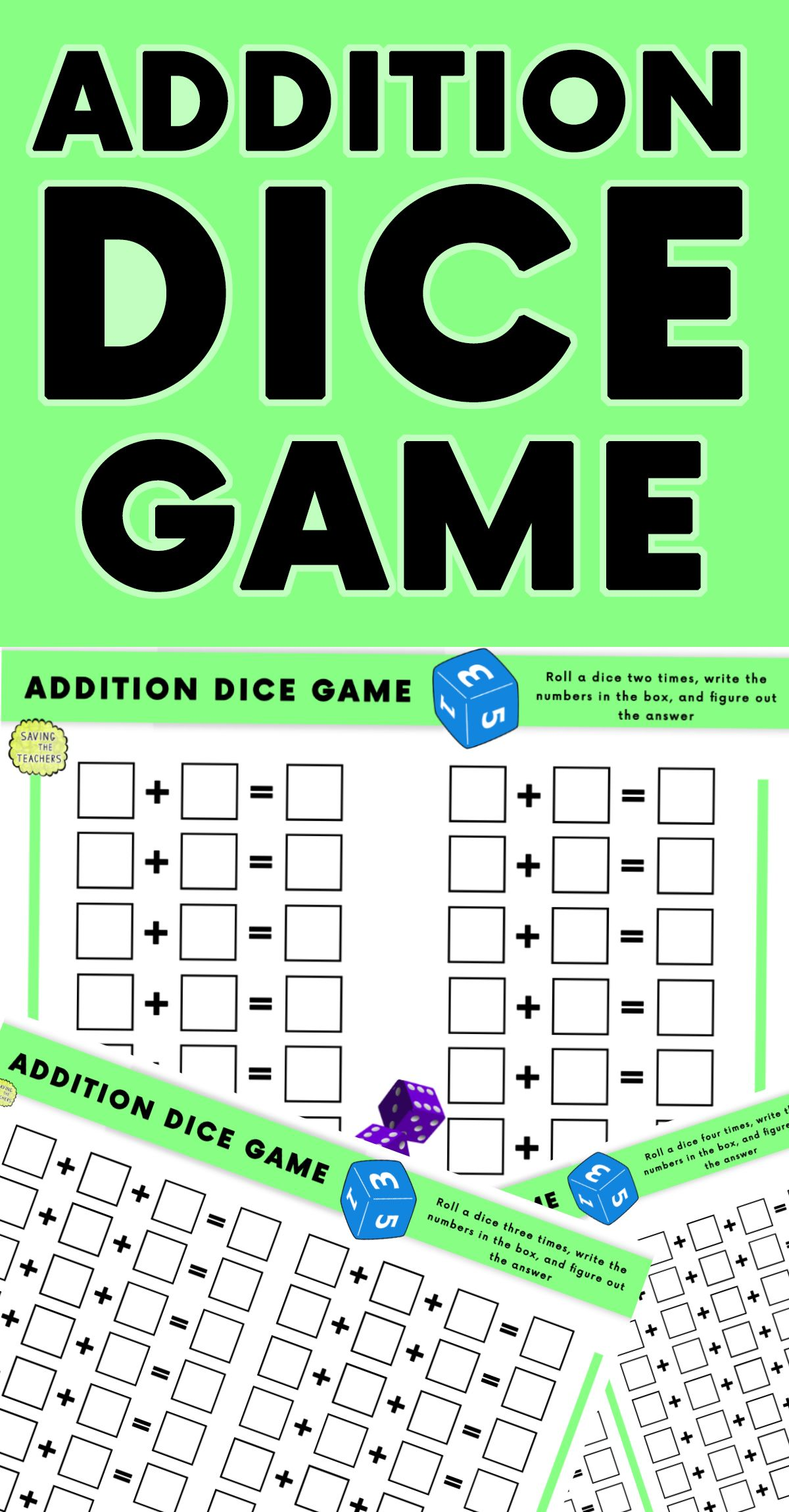 Addition Dice Game Grades K