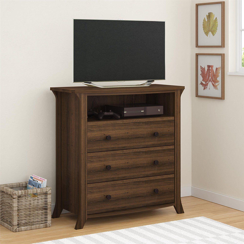 Ameriwood Home Oakridge 3 Drawer Media Dresser Brown Oak Kitchen