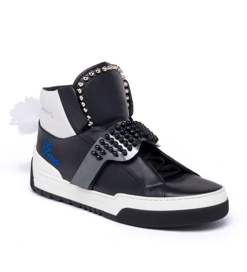 Fendi Black Plimsoll High-Top Sneakers xqpmU2
