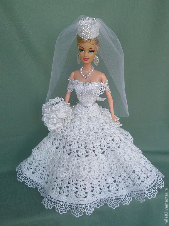 Free Knitting Pattern For Barbie Wedding Dress : Barbie Crochet Bride gown Crochet Barbie clothes Pinterest Gowns, Bride...