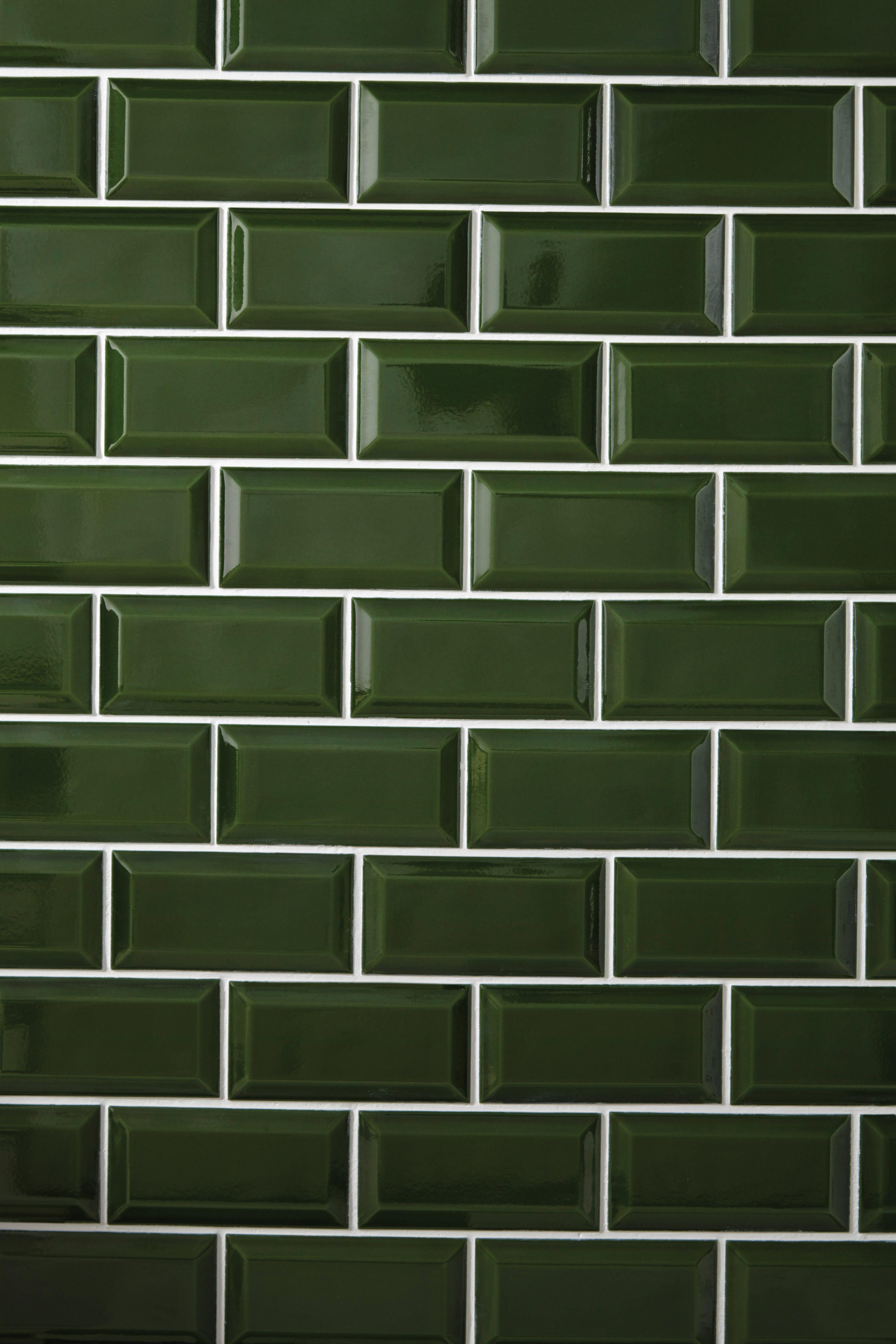 Heritage Bathrooms bottle green Art Deco Metro wall tiles ...