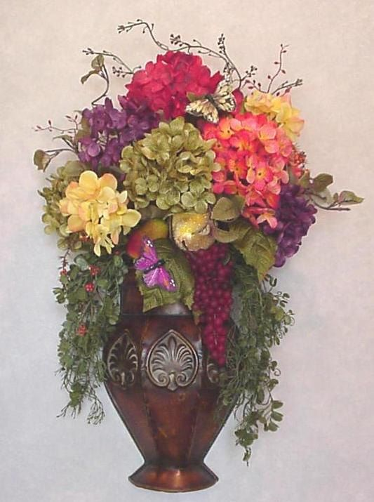 LUXE Old World floral arrangement Tuscan fruit metal wall ... on Silk Flower Wall Sconces Arrangements id=83667