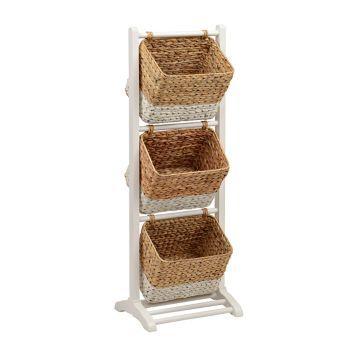 White 3 Tier Magazine Basket Tower