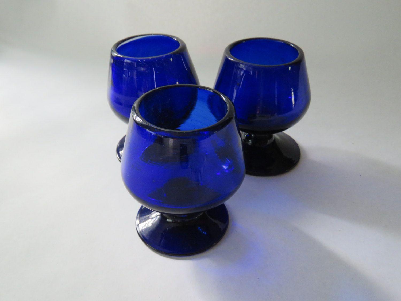 Set of 3 cobalt blue snifter glasses by GiftedEnrichment on Etsy