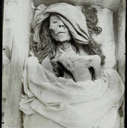 Eerily lifelike mummy of Queen Tyie , King Akhenaten's mother, Valley of the Kings, Egypt. 1898 c