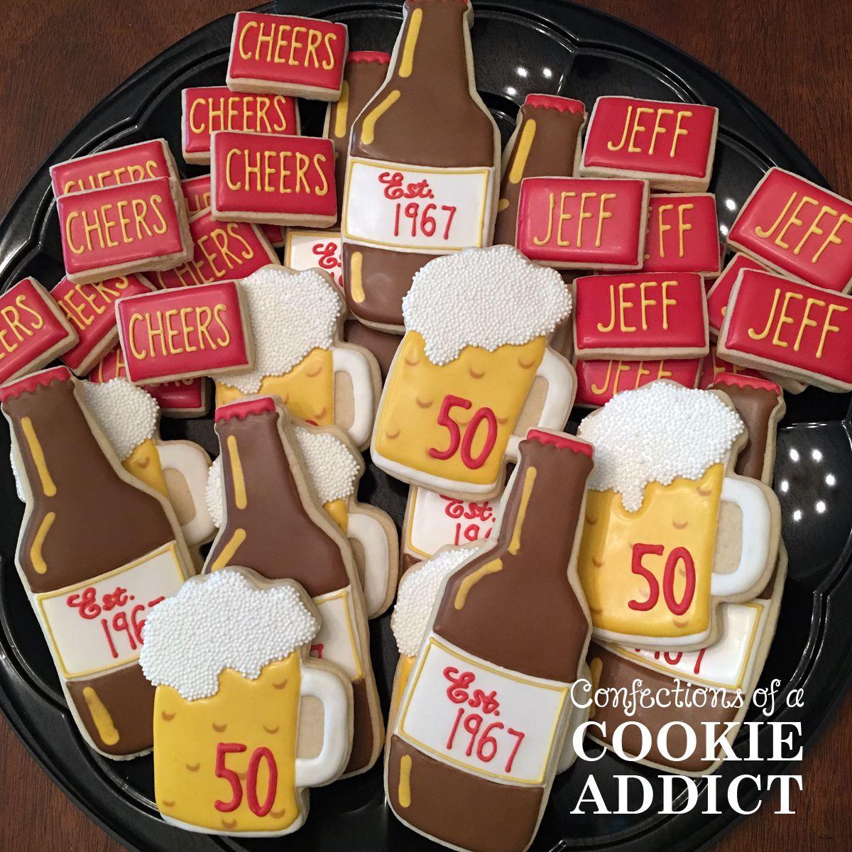 50th Birthday Cookies Beer Bottle Cookies Beer Mug Cookies Iced Cookies Custom Cookies Cookies
