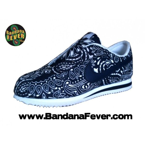 free shipping 10069 1f182 Bandana Fever Custom Bandana Nike Cortez White Navy Navy Bandana Whole ❤  liked on Polyvore