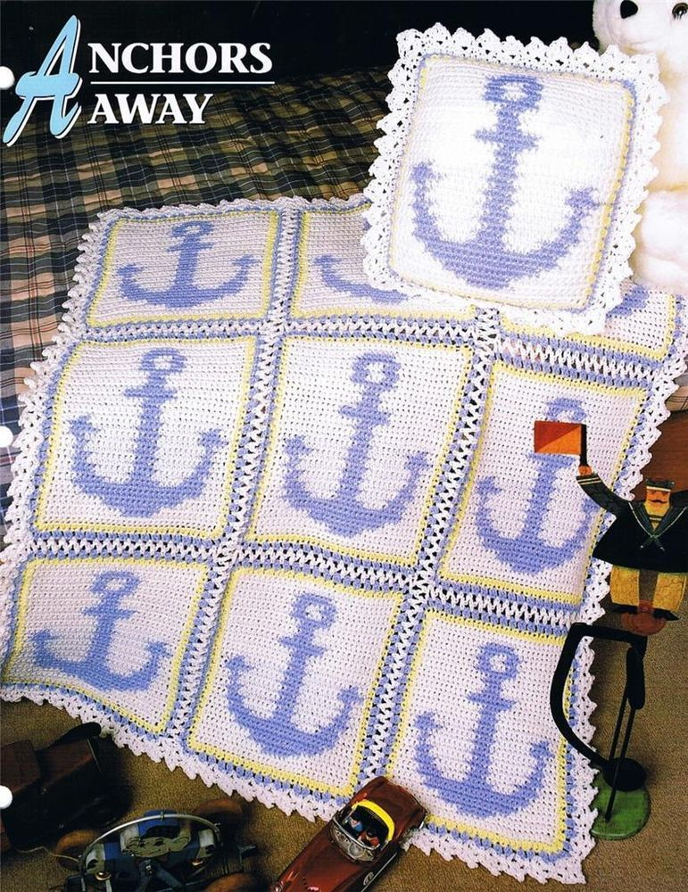 Anchors Away Annies Attic Crochet Afghan Pattern Instruction