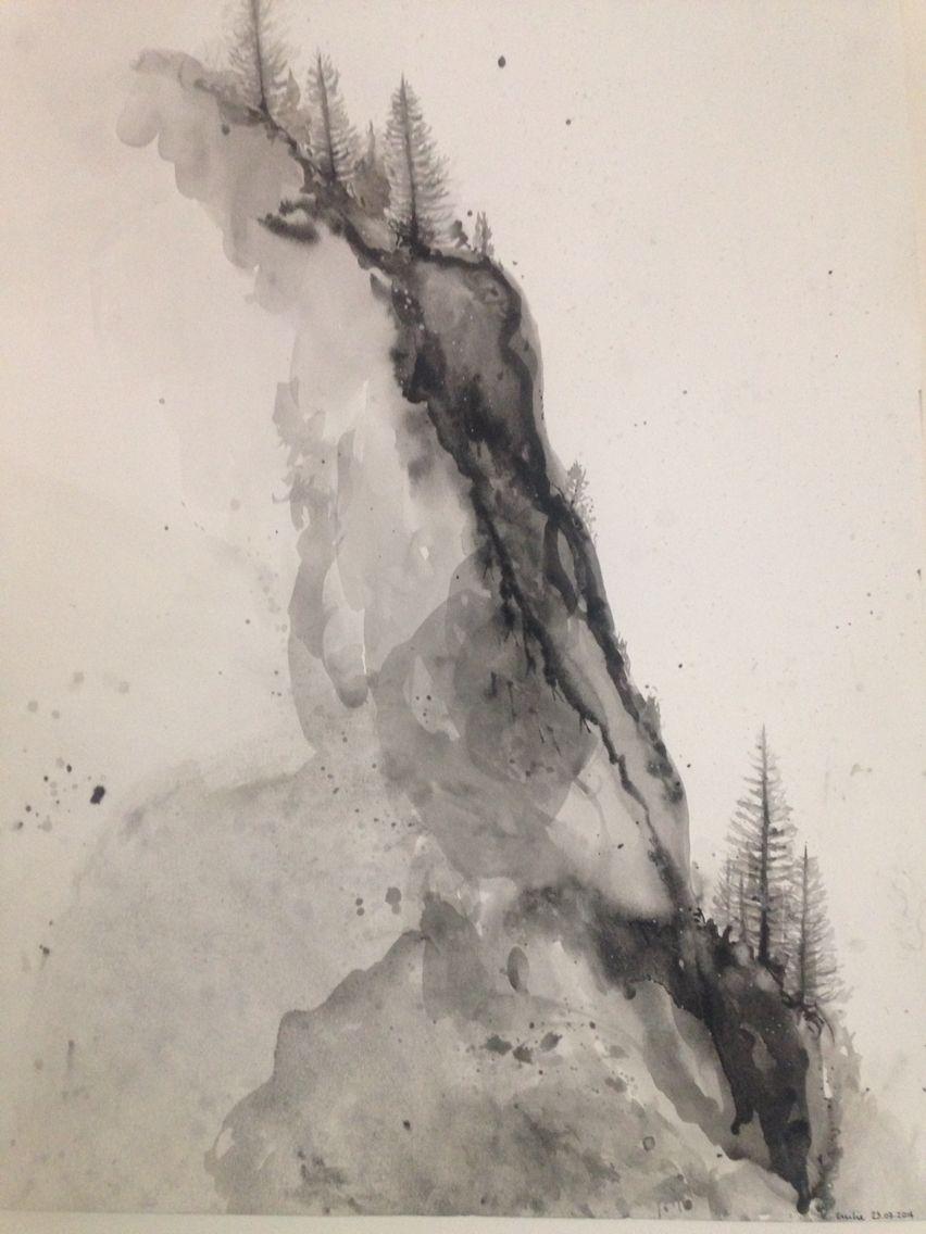 Montagne Noir Blanc Pente Abrupt Escalade Sapin Aquarelle Aquarelle De Renard Sapin Noir Noir Et Blanc