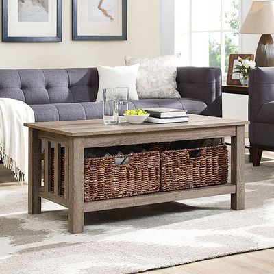 Driftwood Coffee Table With Storage Baskets In 2019