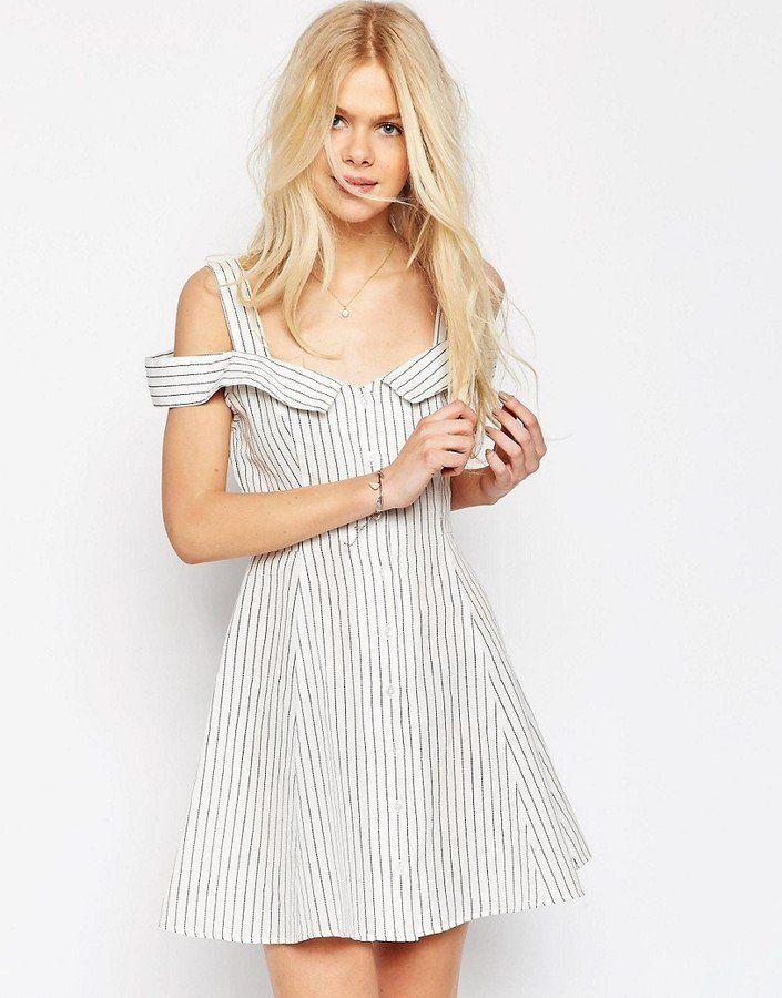 The best Summer sundresses: ASOS Off Shoulder Button Through Mini Sundress ($46)