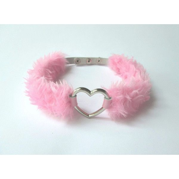 Pink Heart Choker Kawaii BDSM Collar Necklace, DDLG Pastel Goth Sweet... ($17) ❤ liked on Polyvore featuring jewelry, necklaces, gothic choker, collar choker, collar necklace, pink jewelry and goth choker