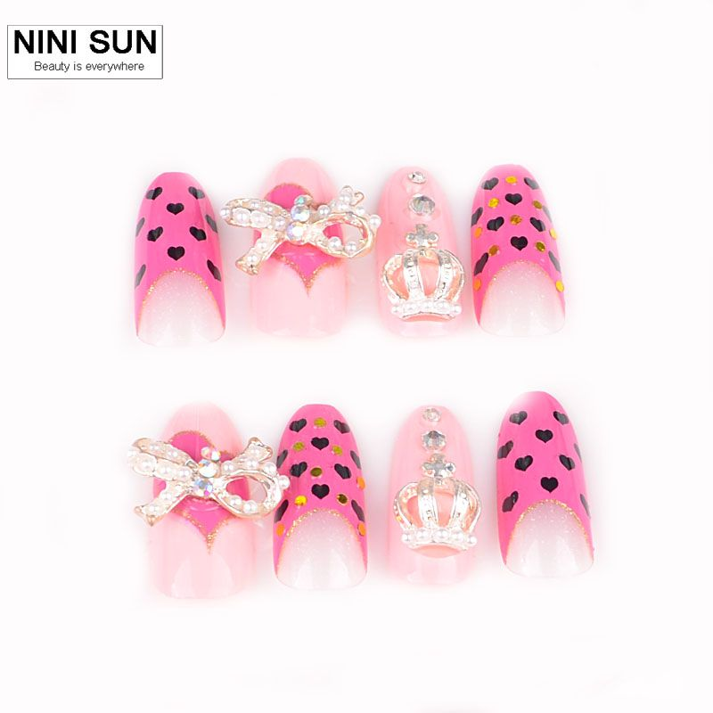 Stiletto fake nails stiletto with 3D nail decoration false nails 3d ...