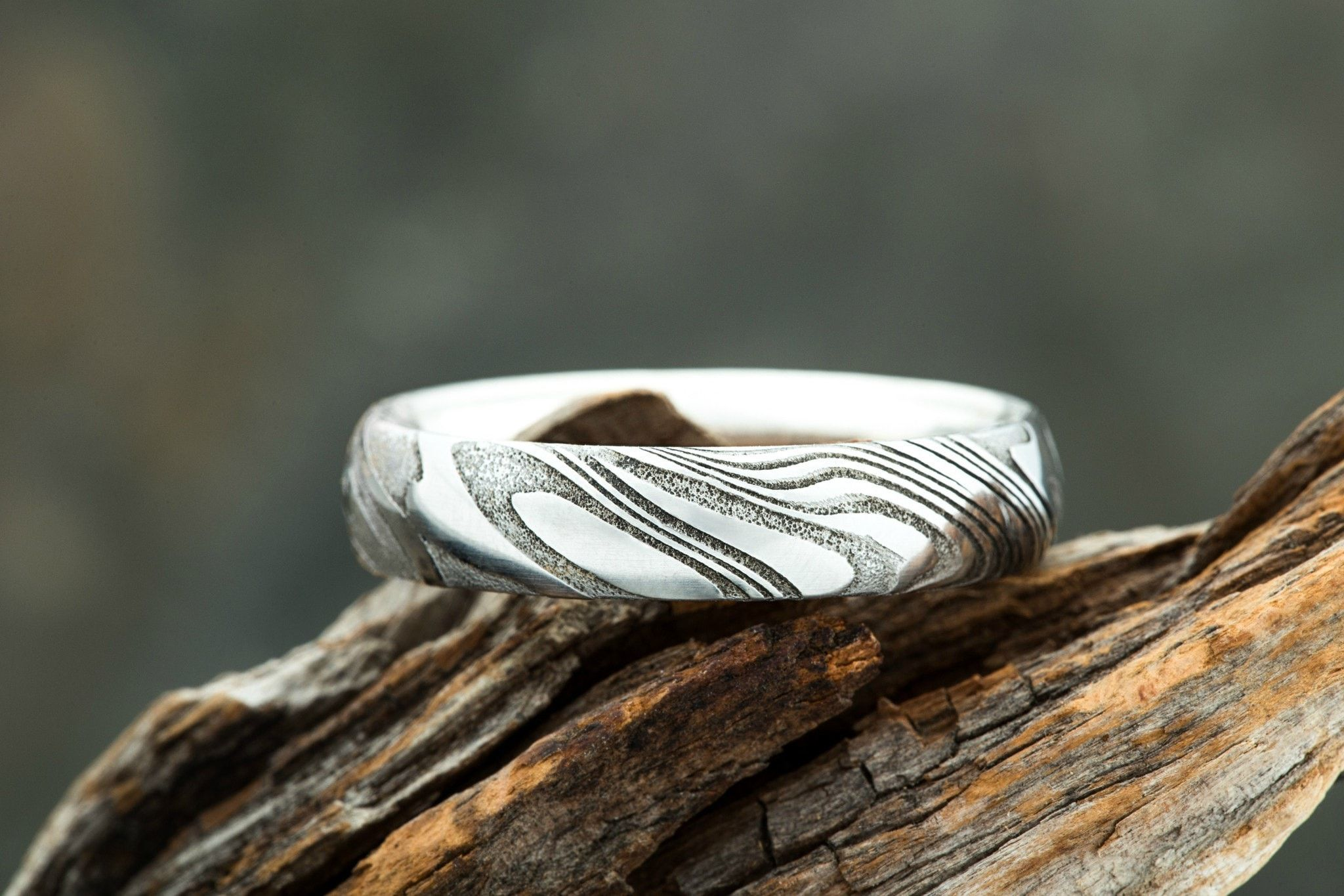 Wood Grain Damascus Steel Ring W Silver Interior By Carbon 6 Rings Woodgrain Mens Wedding