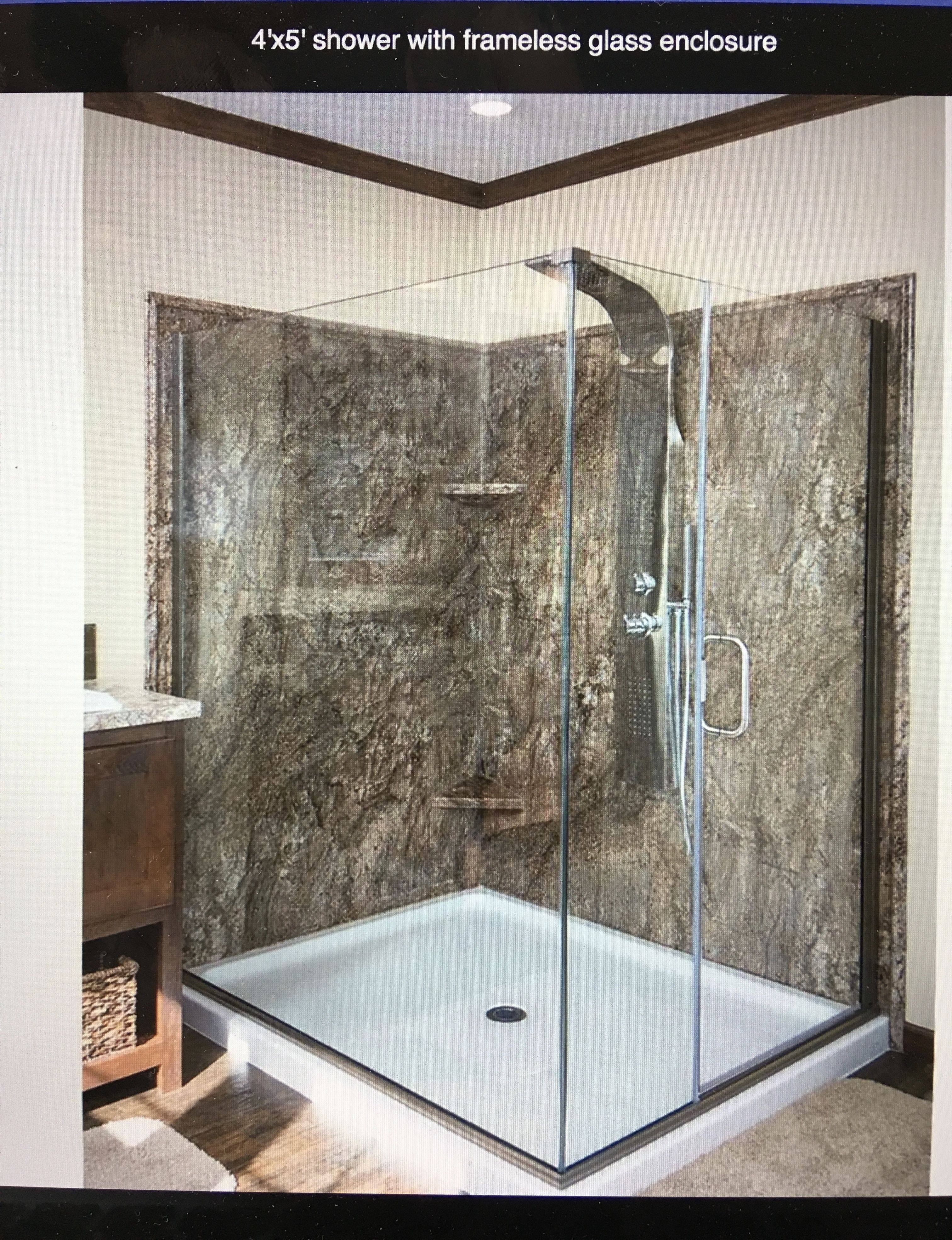 Beau 4x5 Shower With Frameless Glass Enclosure