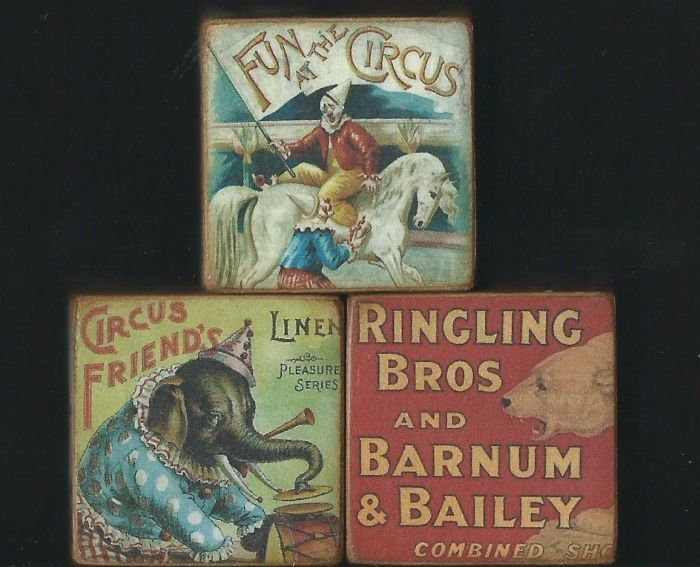 Wooden Blocks~Circus~Clowns~Elephants~Bears~Horses~Pig #VintageStyle #HandmadeBySeller