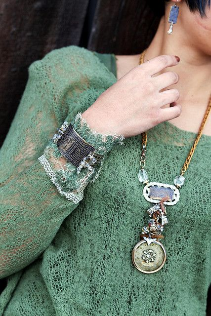 Antique Watch with Resin Necklace & Etched Cuff by Diana Frey, via Flickr