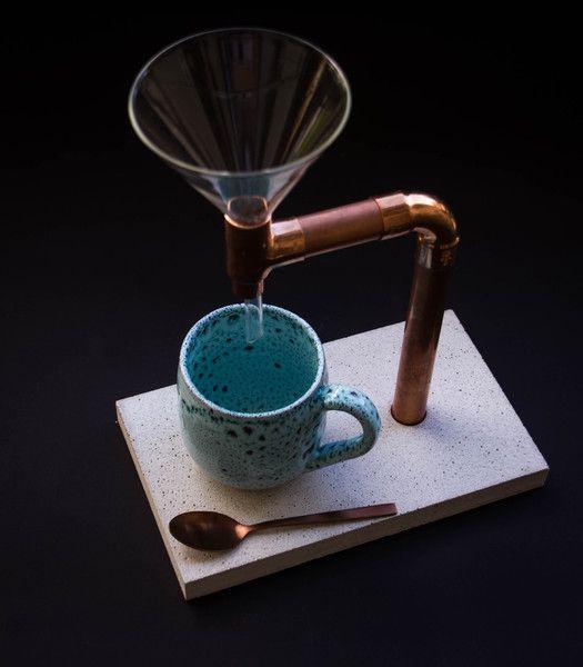 Kaffee Bruher Beton Kupfer Glas Inkl Loffel Coffee Coffee