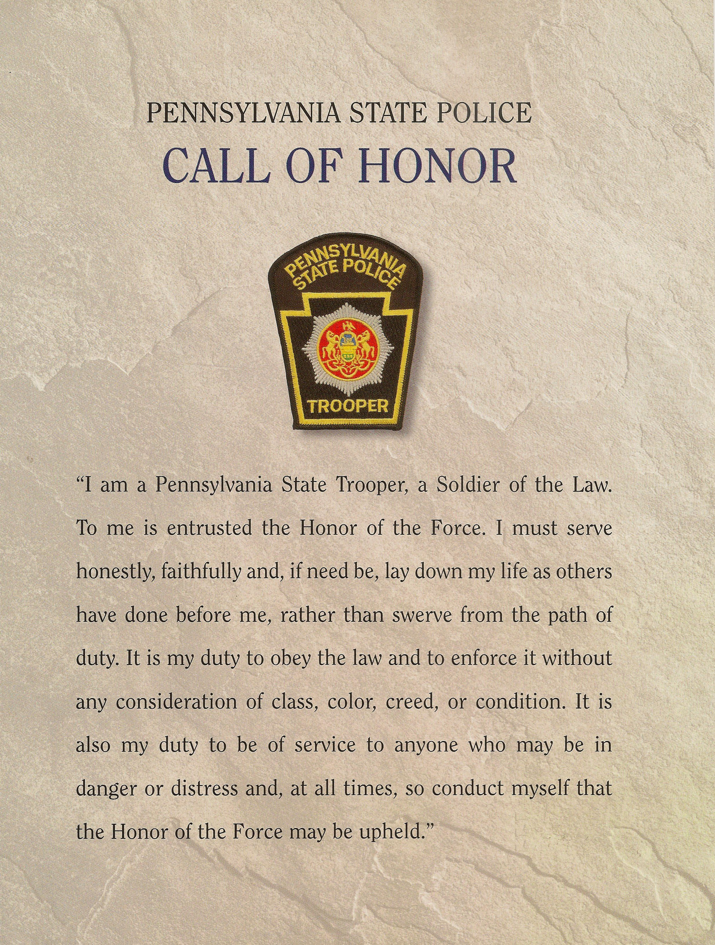 Pa State Police Call Of Honor State Trooper Quotes State Police State Trooper