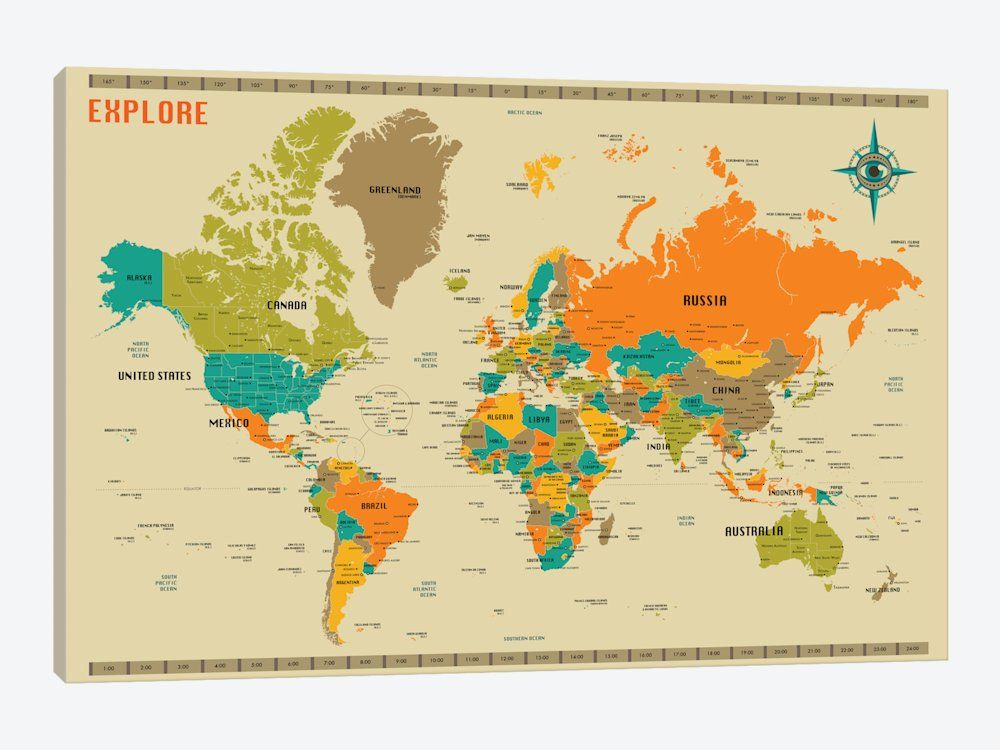New World Map by Jazzberry Blue Canvas Print 60 - new world map canvas picture