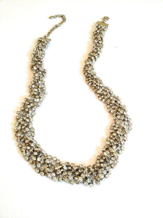 Braided Crystal Torsade Necklace White Stone by WOWTHATSBEAUTIFUL