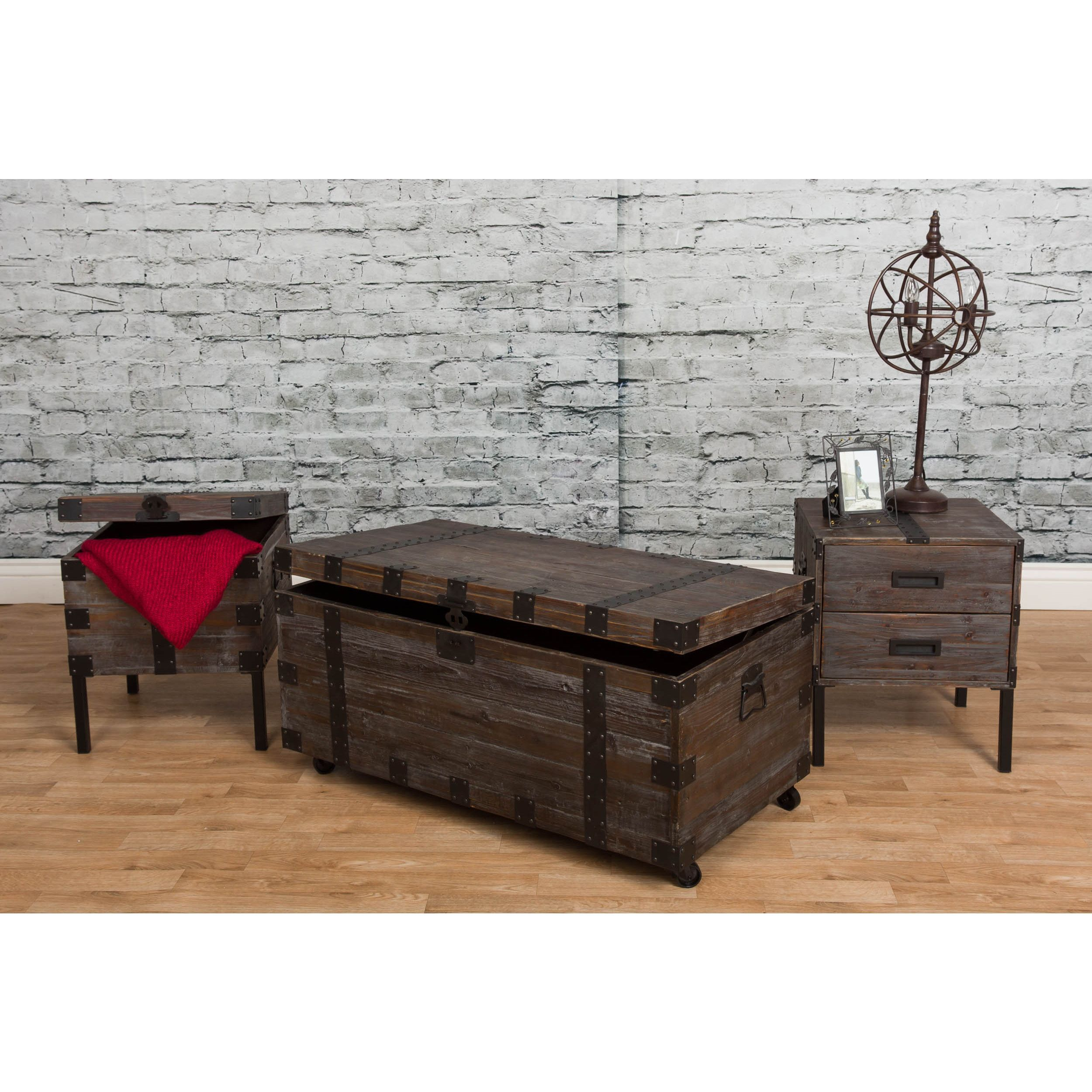 Somette Reclaimed Weathered Grey 3 piece Occasional Trunk Table