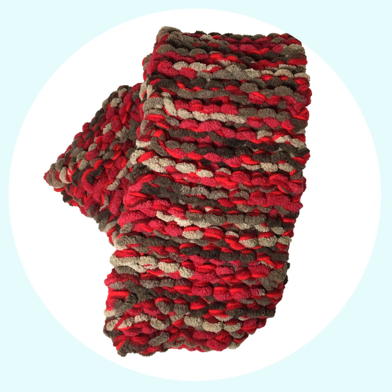 Thick Red and Brown Soft and Fuzzy Scarf for Winter, Super Warm ...