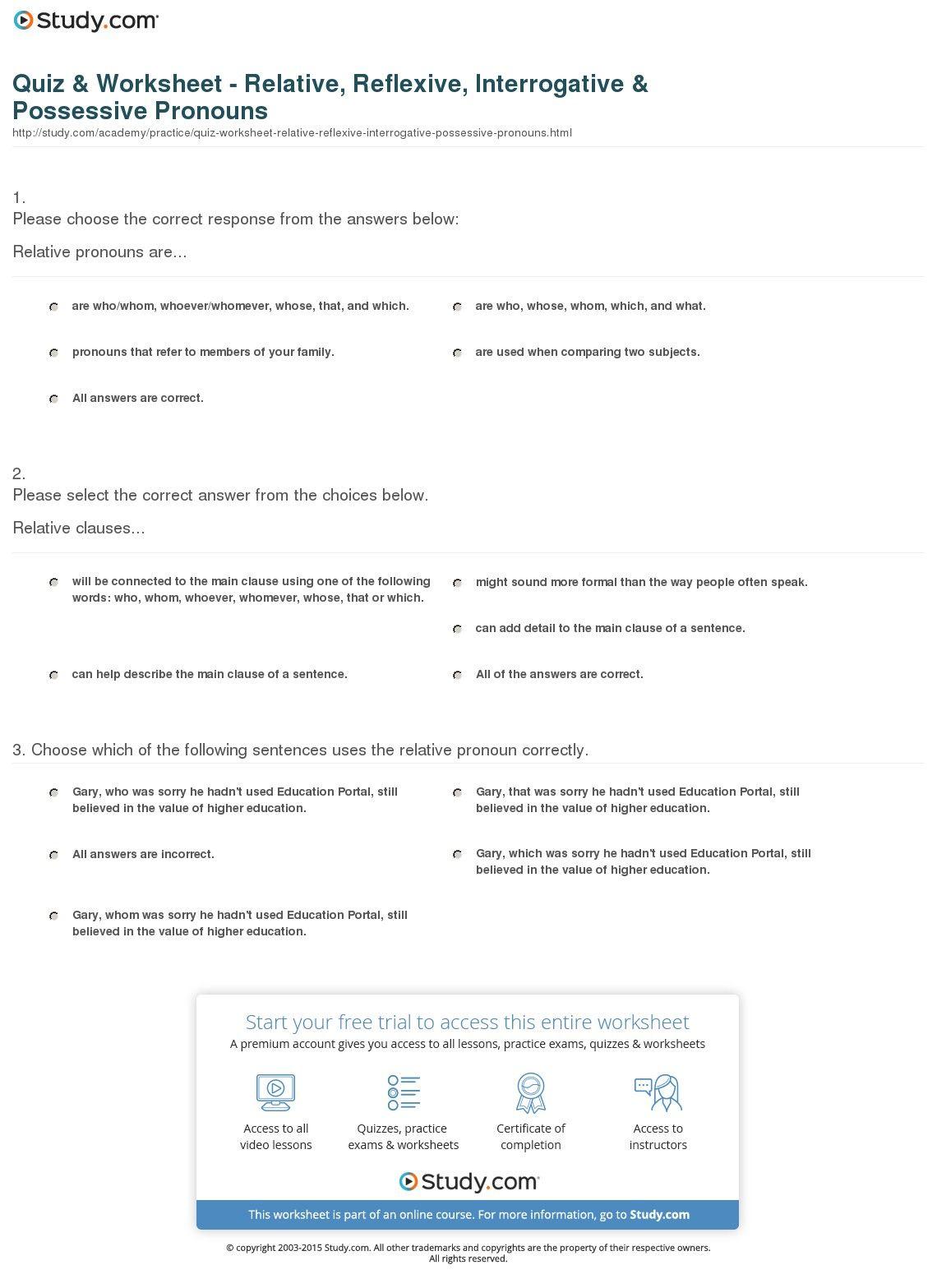 Worksheet Possessive Pronoun Worksheet Worksheet