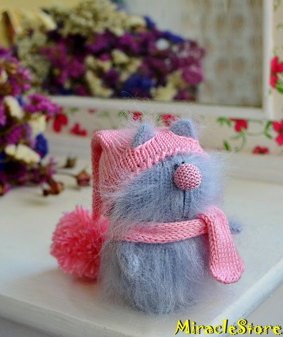 Grey Cat in pink Hat - Hand-Knitted cat Toy Amigurumi cat Miniature ...