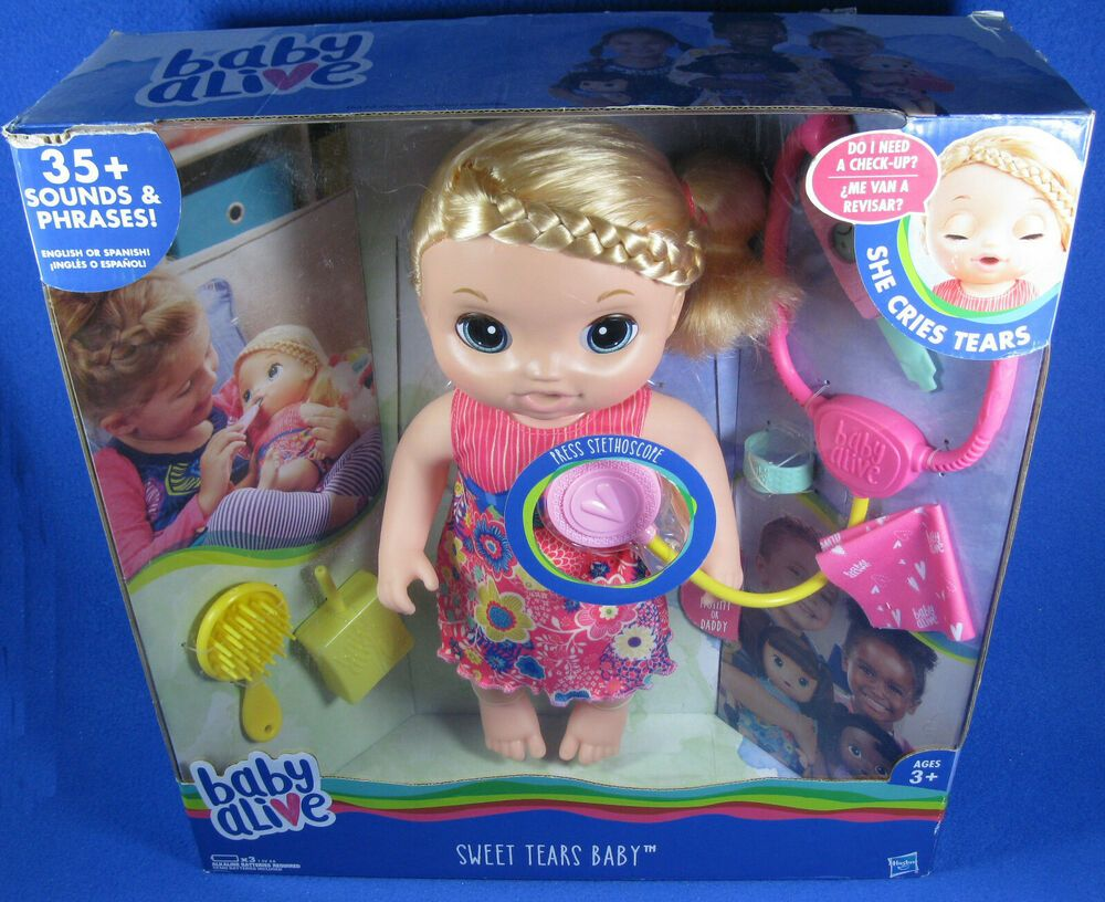 Baby Alive Sweet Tears Baby Doll Blonde 35 Sounds Phrases Interactive Toy Nib Hasbro Dollswithclothingaccessories Baby Alive Baby Dolls Interactive Toys