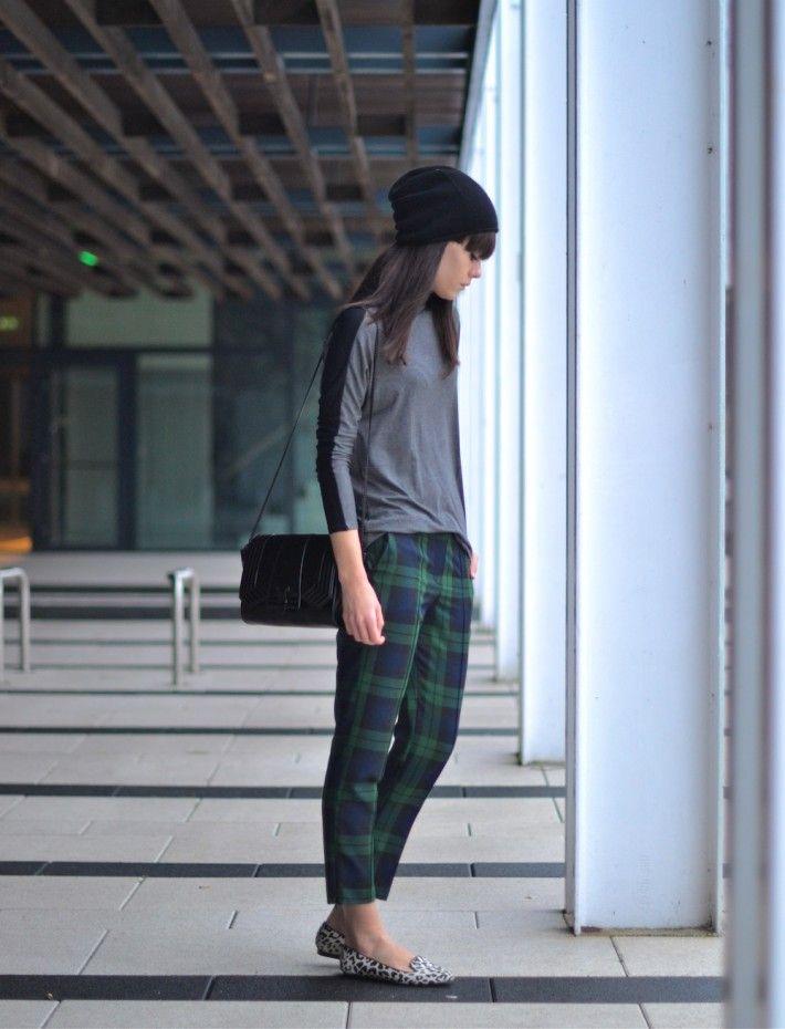 Outfit Check Blue Green Trousers Beanie Gorros De Lana Beanie