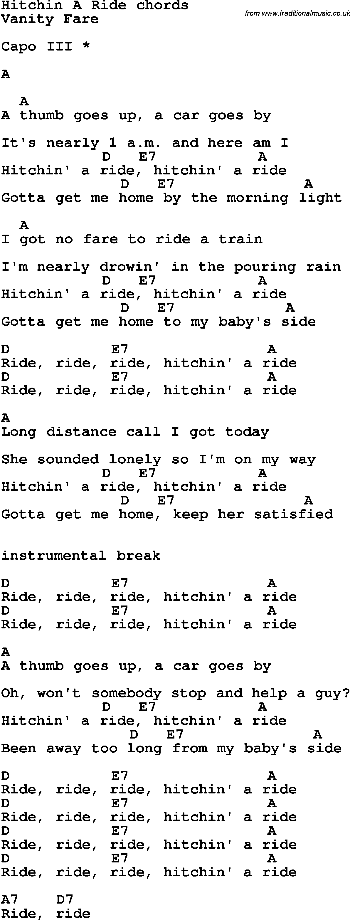 Song Lyrics With Guitar Chords For Hitchin A Ridebe Music